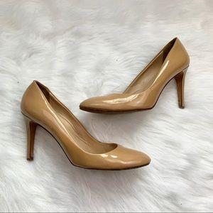 J Crew Tan Sloane Patent Heels Size 8